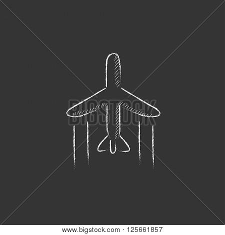 Cargo plane. Drawn in chalk icon.