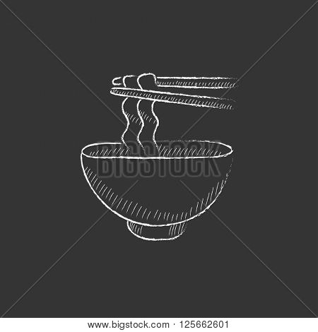 Bowl of noodles with pair chopsticks. Drawn in chalk icon.