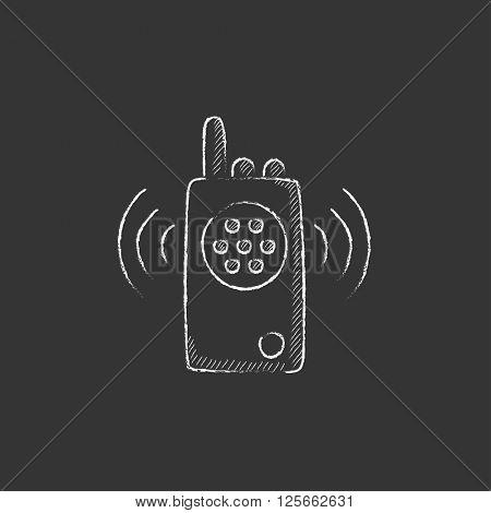 Radio set. Drawn in chalk icon.