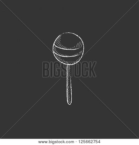 Round lollipop. Drawn in chalk icon.