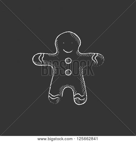 Gingerbread man. Drawn in chalk icon.