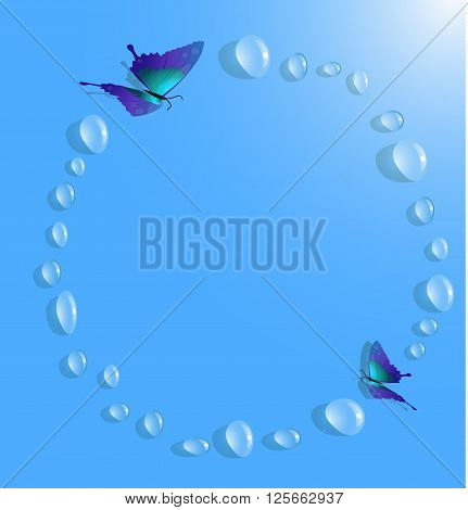 Drops of water water splashing and butterflies. Background of the water droplets. Drops vector frame