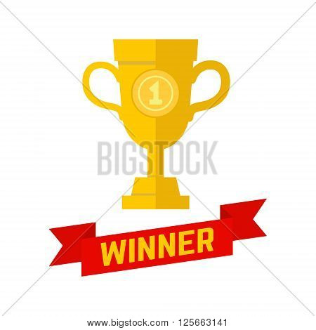 Winner champion icon in flat style. Winner cup. Winner cup design isolated on white background. Trophy Icon art. Trophy Icon web. Trophy Icon new. Design element in vector.