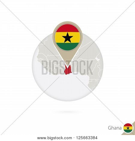 Ghana Map And Flag In Circle. Map Of Ghana, Ghana Flag Pin. Map Of Ghana In The Style Of The Globe.