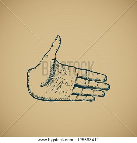 Hand draw sketch of vintage style hand vector illustration