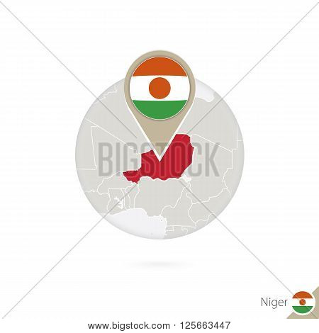 Niger Map And Flag In Circle. Map Of Niger, Niger Flag Pin. Map Of Niger In The Style Of The Globe.