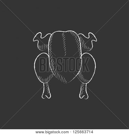 Raw chicken. Drawn in chalk icon.