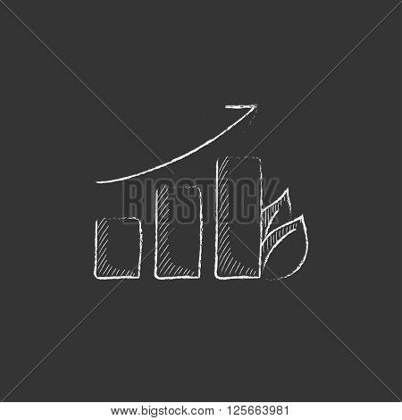 Bar graph with leaf. Drawn in chalk icon.