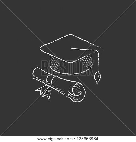 Graduation cap with paper scroll. Drawn in chalk icon.