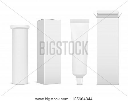 Blank medicine bottle vector illustration. Package of drugs with package box