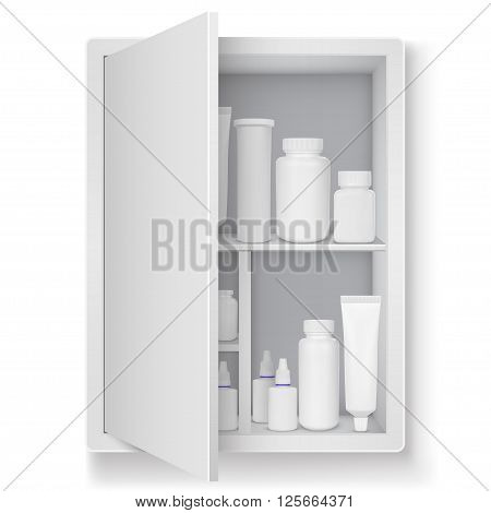 Medicine cabinet with tablets pills bottles isolated on a white background