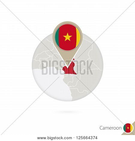 Cameroon Map And Flag In Circle. Map Of Cameroon, Cameroon Flag Pin. Map Of Cameroon In The Style Of
