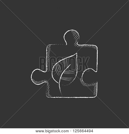 Puzzle with leaf. Drawn in chalk icon.