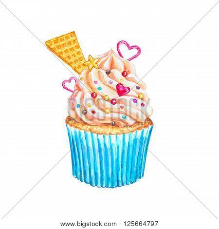 Watercolor cupcake. Watercolor vanilla cupcake. Hand drawn Watercolor cupcake with decoration cream and hearts. Sweet tasty food illustration