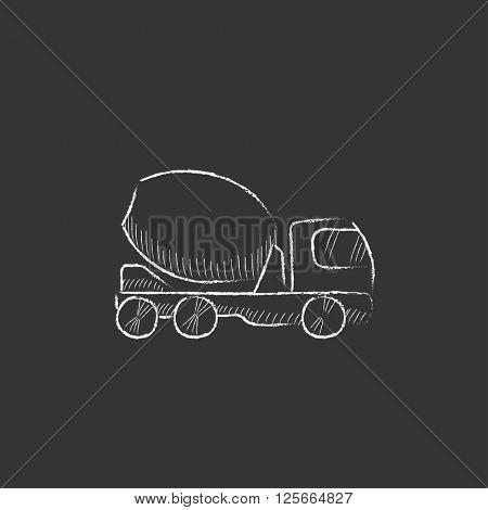 Concrete mixer truck. Drawn in chalk icon.