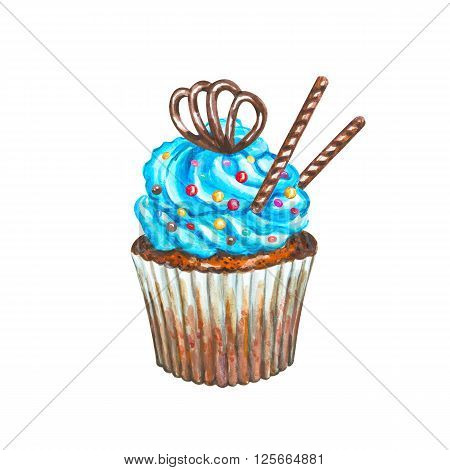 Watercolor cupcake. Watercolor chocolate cupcake. Hand drawn Watercolor cupcake with decoration cream and chocolate. Sweet tasty food illustration