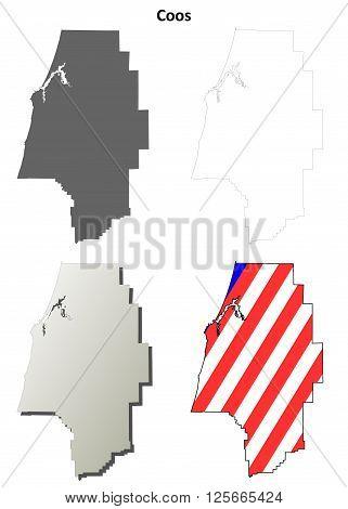 Coos County, Oregon blank outline map set