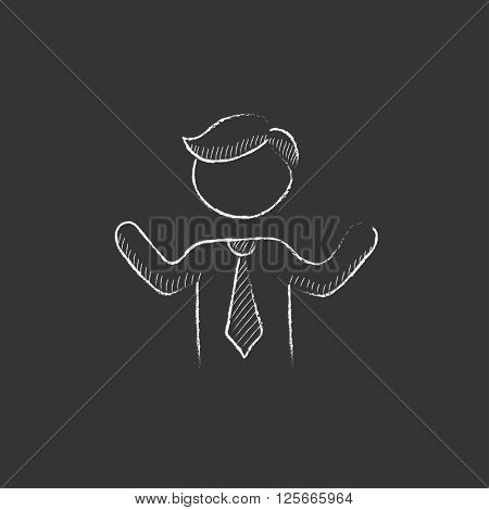 Man with raised arms. Drawn in chalk icon.