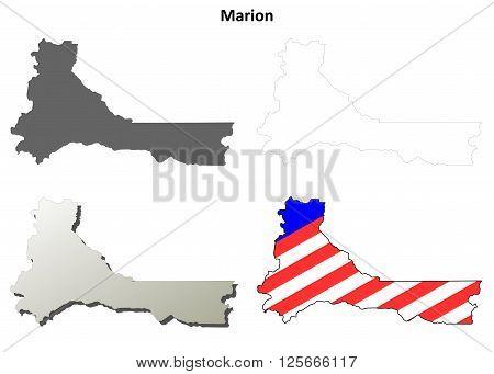 Marion County, Oregon blank outline map set