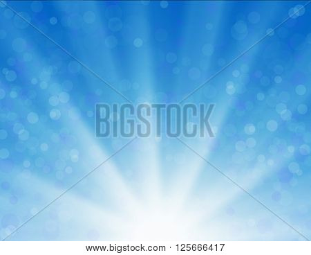 Vector background with shiny sun over a blue sky, with bokeh effect, lens flare and blurs. abstract blue sky and sun light ray. Blue sky natural background