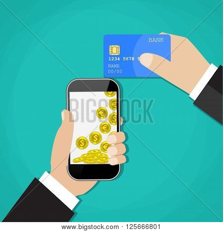 Man hands holding mobile phone and credit card. Concept of mobile payment app, payments application system, money transfer. vector illustration in flat design