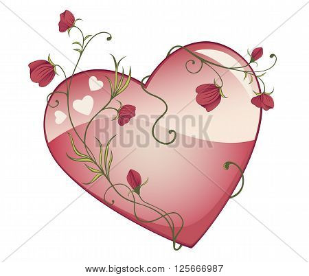 Decorative Glossy Vector Heart Wrapped With Rose Branches