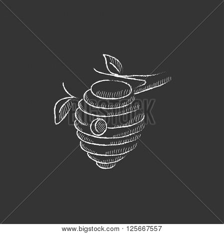 Bee hive. Drawn in chalk icon.