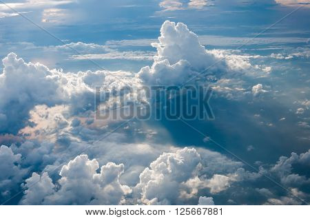 Cumulonimbus clouds bird eye view in the morning over the Andaman sea Thailand