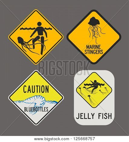 Vector illustration of differents Jellyfish caution signs