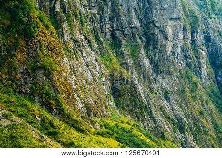 Norwegian Nature Mountain Rock Background. Rocky Background
