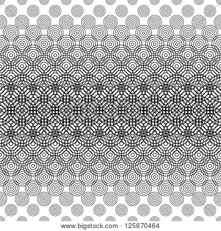 Seamless black and white circle grid pattern background