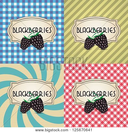 Four Types Of Retro Textured Labels For Blackberries Eps10