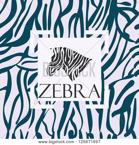 Zebra seamless pattern. The pattern for wallpaper, tiles, fabrics, backgrounds. Vector illustration.