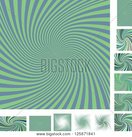 Green vector spiral design background set. Different color, gradient, screen, paper size versions.