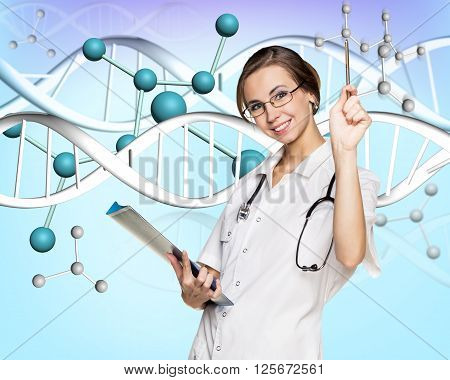 Female doctor in white coat and dna molecule formula over blue background