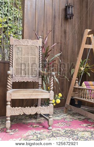 Antique Wooden Chair And Cradle