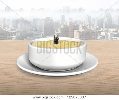 Man in soup bowl climbing wood ladder up on wooden table background.