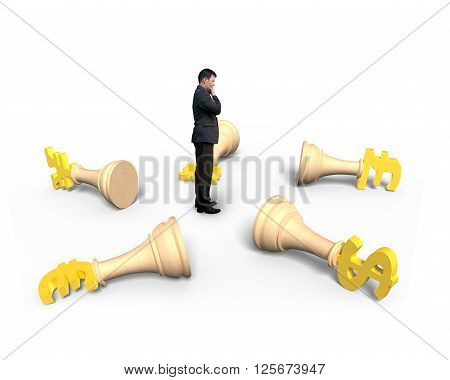 Lying money chess and standing man with hand touching his chin isolated on white background.