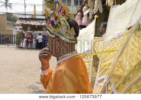 CHIANG MAI, THAILAND - APRIL 13: dancer waiting for perform traditional Thai dance show at the ancient lanna house 140 years in water festival in Chiang Mai Thailand on April 13 2016.
