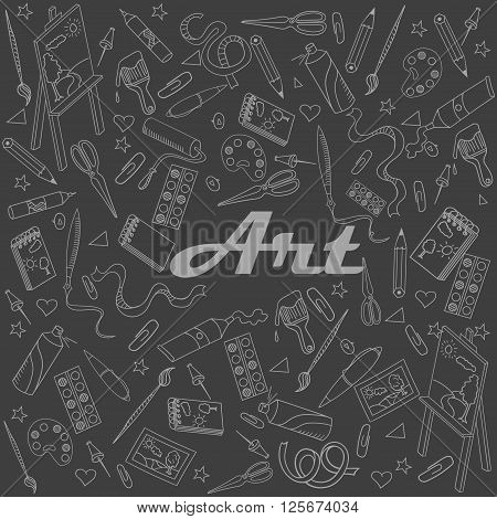 Stationery shop chalk line art design vector illustration. Separate objects. Hand drawn doodle design elements.