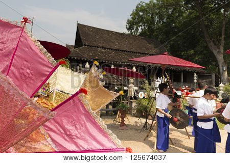 CHIANG MAI, THAILAND - APRIL 13:  dancer perform traditional Thai dance show at the ancient lanna house 140 years in water festival in Chiang Mai, Thailand on April 13, 2016.