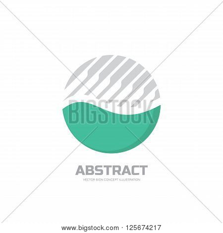 Abstract vector logo concept illustration. Abstract stripes in circle. Sphere vector logo. Nature bio product logo sign. Geometric logo sign. Vector logo design template.