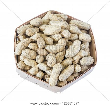 unshelled peanuts peanuts isolated in basket on white background