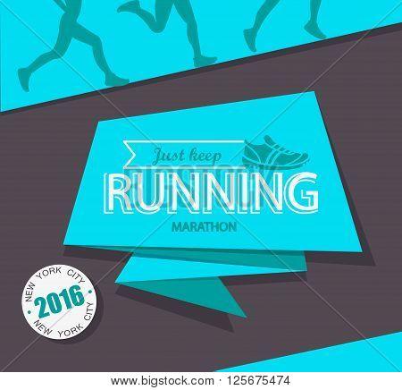 Running marathon and jogging emblem, label and badge, vector illustration