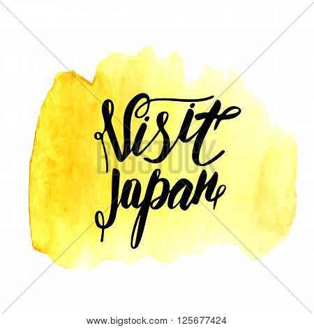 Cute hand drawn visit Japan postcard card cover on yellow watercolor spot. Visit Japan lettering quote for logo banner. Card about traveling tourism