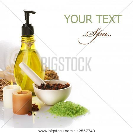 Spa and body care treatment over white