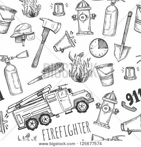 Hand drawn vector illustration - firefighter. Seamless pattern