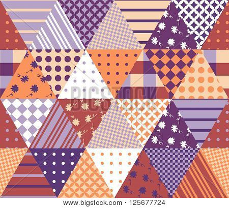 Vintage seamless patchwork pattern. Geometric triangle tiles. Vector illustration of quilt.
