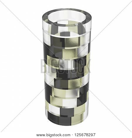 Empty glass vase isolated on white background. Dark light and pale yellow parts. 3D Illustration