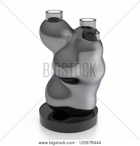 Empty amorphous steel and glass vase isolated on white background. 3D Illustration
